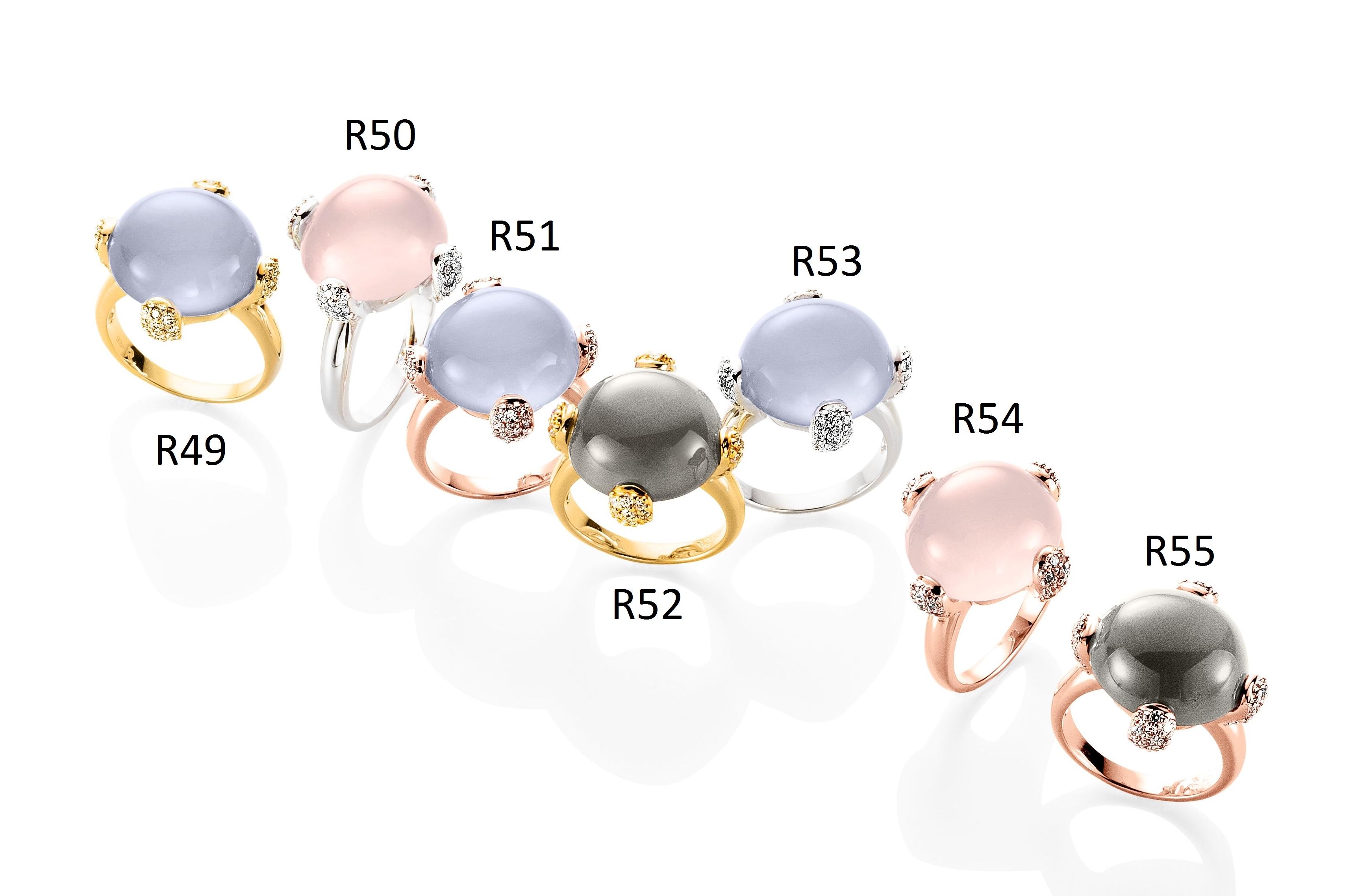 Ratius Ringe verschiedene Farbsteine und Plattierungen R49, R50, R51, R52, R53, R54, R55