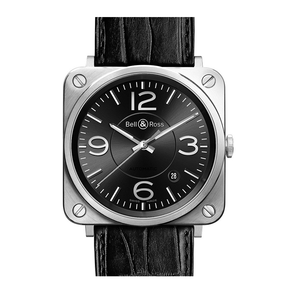 Bell&Ross BR S Officer Black mit Lederband