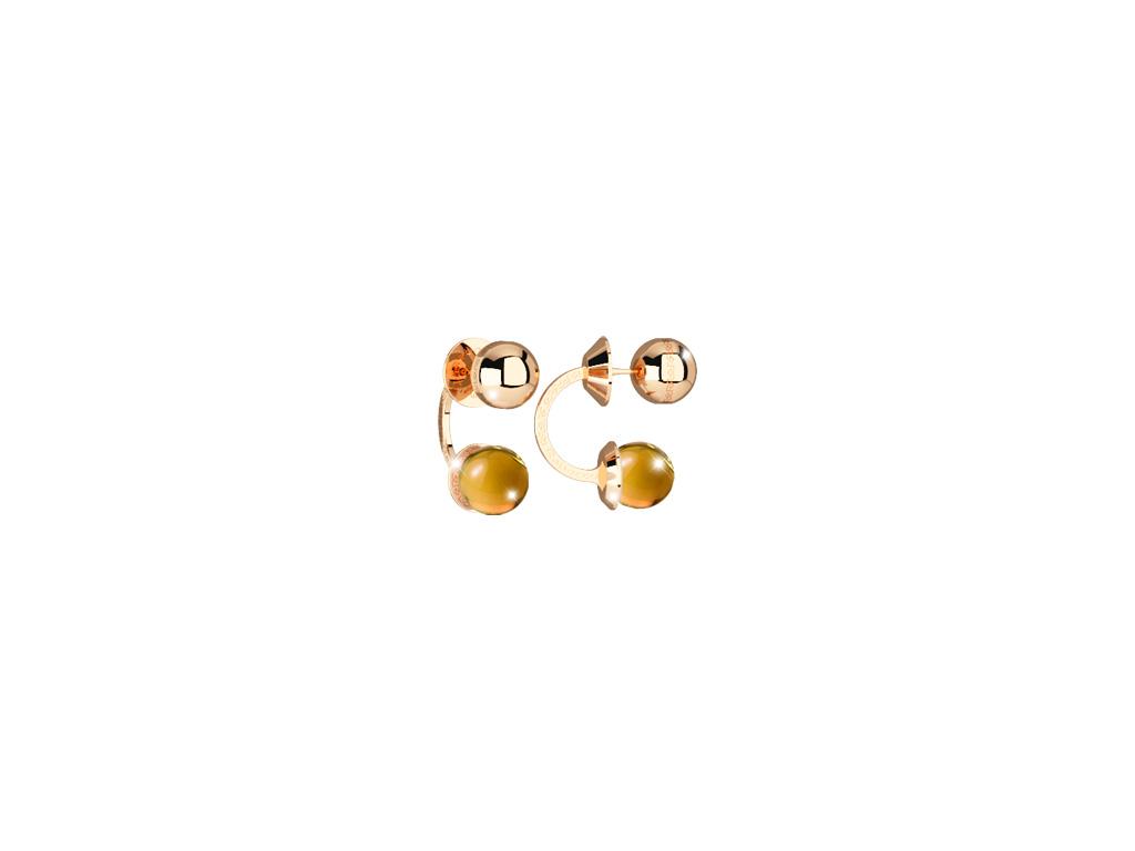 Boulevard Stone Ohrringe Bronze-vergoldet mit gelben Steinen NEU