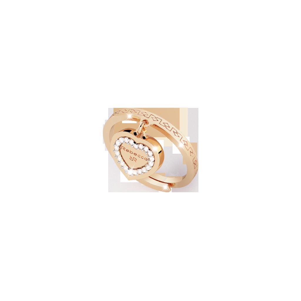 My Love Damenring Bronze-vergoldet mit Herzanhänger NEU