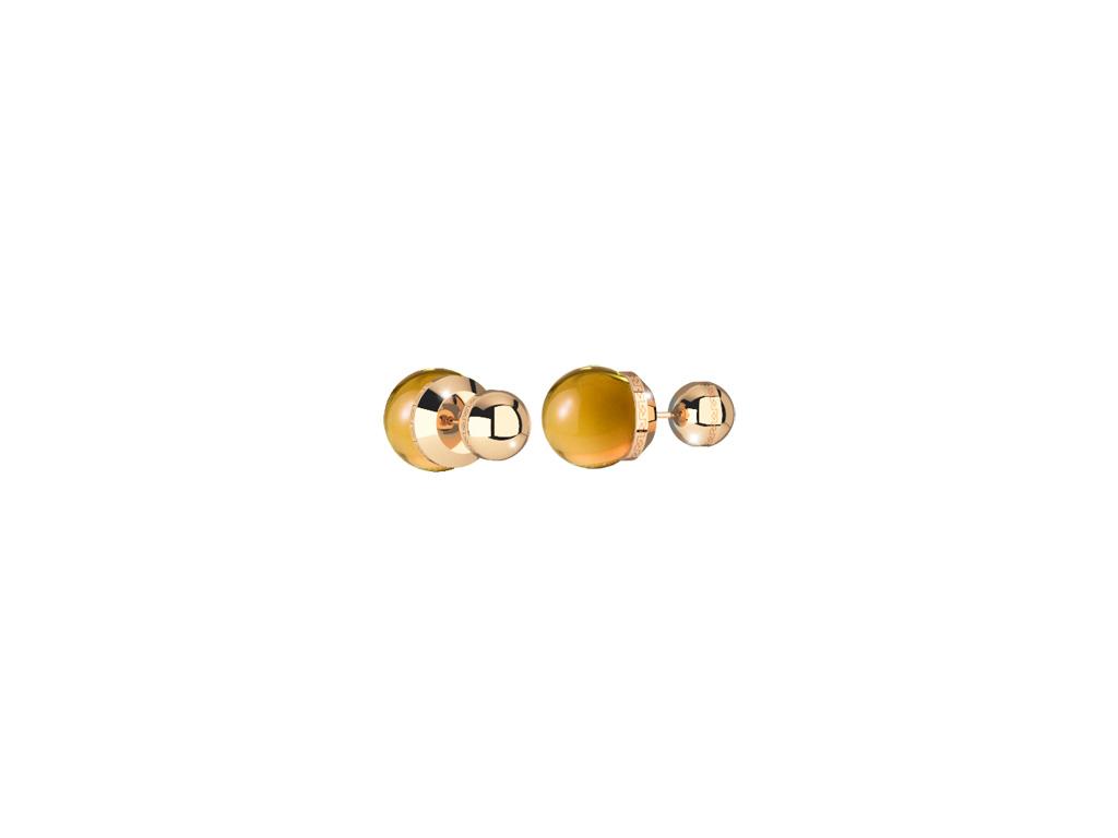 Hollywood Stone Ohrringe Bronze-vergoldet mit gelben Steinen NEU