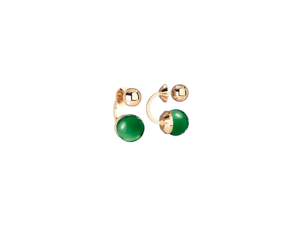 Hollywood Stone Ohrringe Bronze-vergoldet mit grünen Steinen NEU