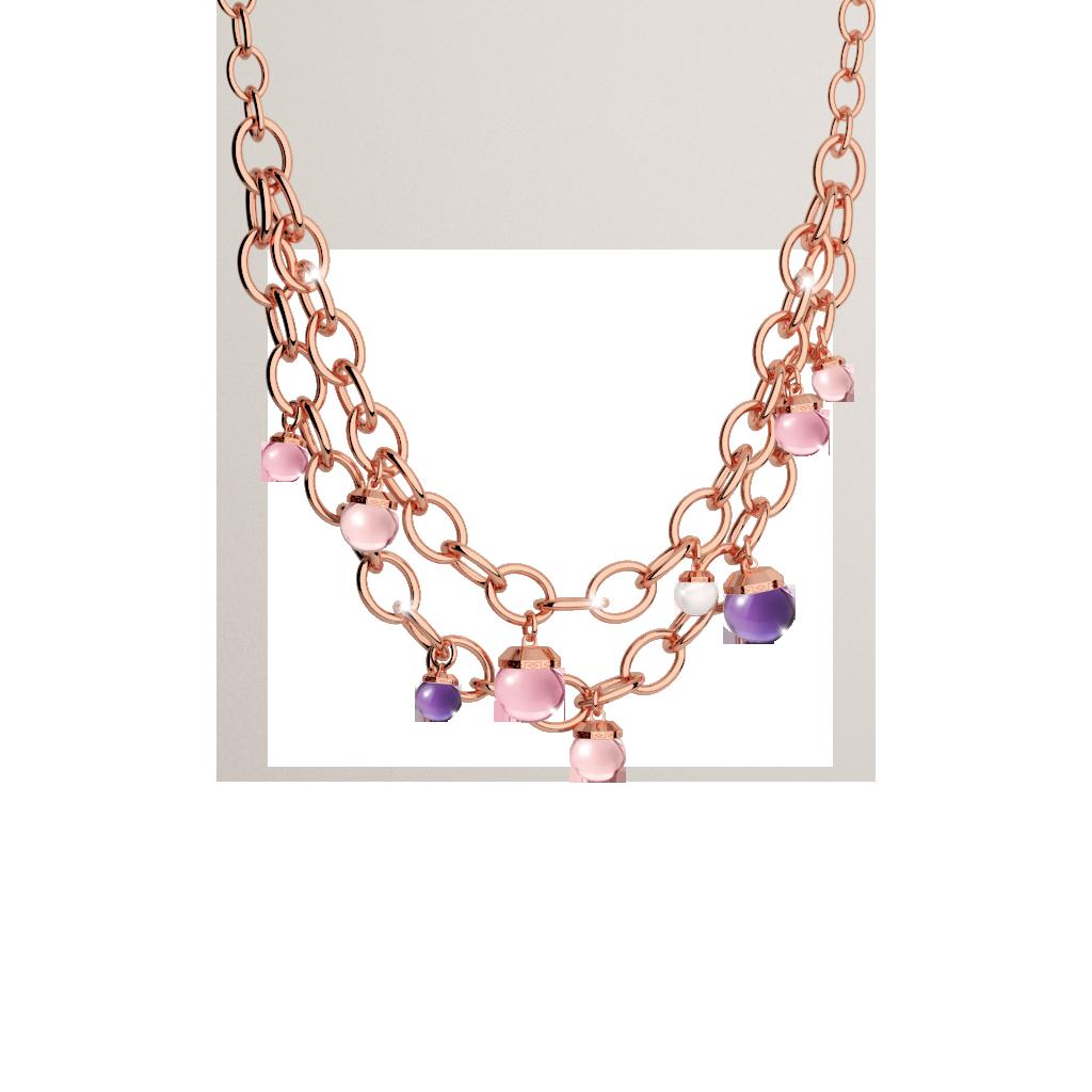 Hollywood Stone Halskette Bronze-vergoldet mit Farbsteinen NEU