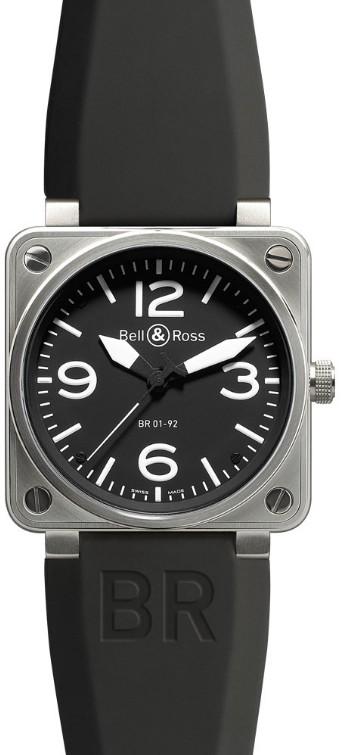Bell & Ross BR 01-92 Stahl mit Kautschukband BR01-92-BL-ST
