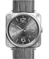 Bell&Ross BR S Officer Ruthenium mit Lederband