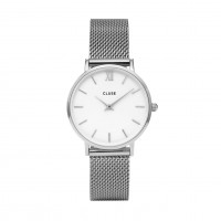 Cluse Minuit Mesh Silver/White Mod: CL30009 inkl. Glasperlenarmband NEU