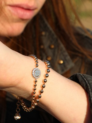 Boulevard Stone Armband Bronze-vergoldet mit Kristallen NEU