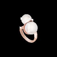 Hollywood Pearl Damenring Bronze-rosevergoldet mit Perlen NEU