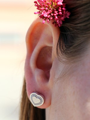 My Love Ohrringe Bronze-versilbert in Herzform NEU