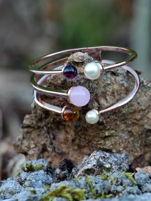 Hollywood Stone Armreif Bronze-rosevergoldet mit Farbsteinen und Perlen NEU