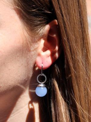 Hollywood Stone Ohrringe Bronze-versilbert mit Farbstein NEU
