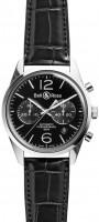 Bell&Ross BR126 Chronograph Officer Black mit Lederband