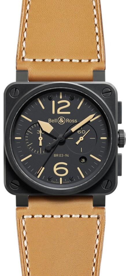 Bell&Ross BR03-94 Heritage Chronograph mit Lederband
