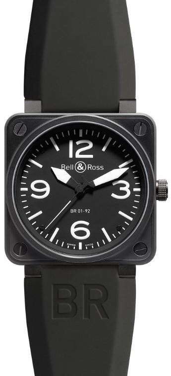 Bell & Ross BR01-92 Carbon mit Kautschukband BR01-92-BL-CA